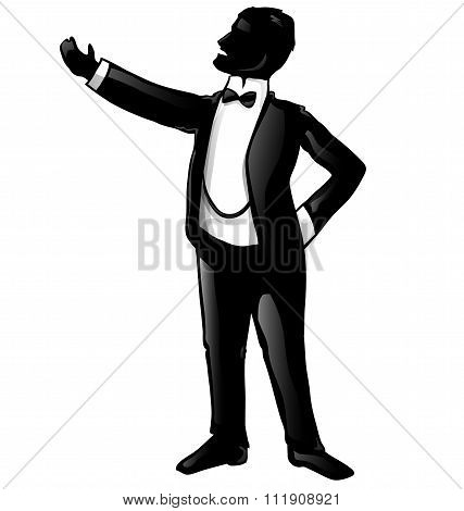 tenor opera singer silhouette isolated