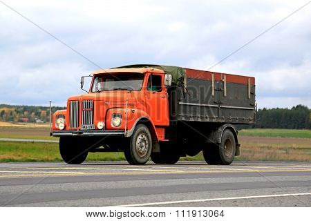 Orange Scania L85 Super Truck On The Road