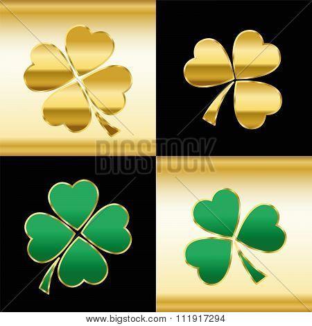 Shamrocks Gold Green Black Pattern