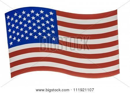 American flag background painted isolated on white