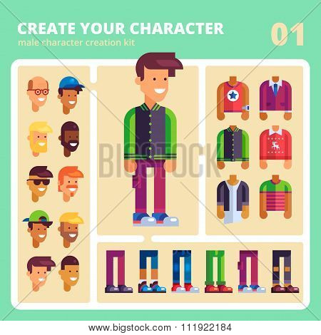 Male character kit  in flat design. Vector.
