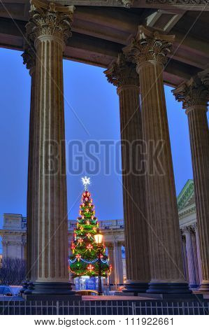 Shining Lights Christmas Tree Outside  Opposite Kazan Cathedral, Saint-petersburg, Russia.