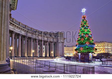 Colorful Shining Lights Christmas Tree, Near Kazan Cathedral, Saint-petersburg, Russia.