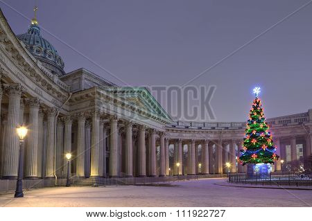 Designers  Outdoor Christmas Tree Opposite Kazan Cathedral, Saint Petersburg, Russia.
