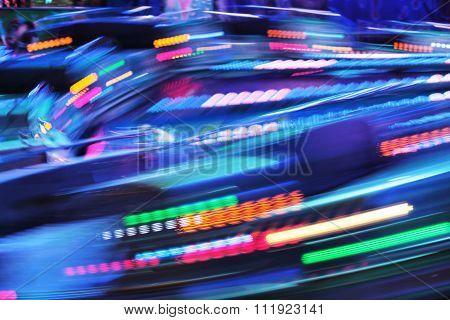Funfair ride moving fast fair