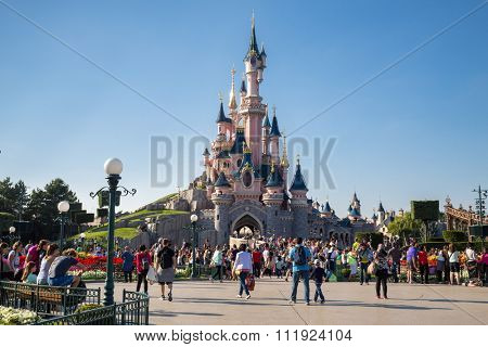 FRANCE, PARIS - 10 SEP, 2014: Beautiful famous castle in Disneyland.