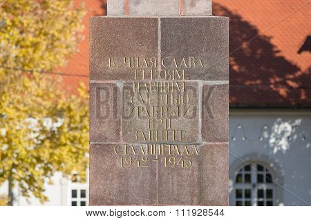 Caption Eternal Memory Of The Heroes Fallen Hero's Death While Defending Stalingrad, 1942-1943,