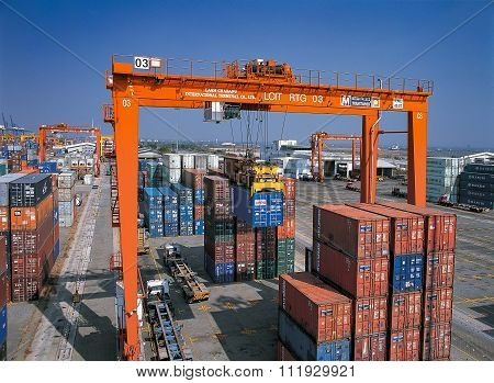 Containers in port shipyard