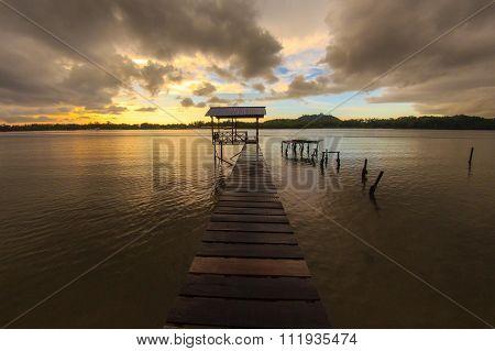 Sunset Clouds Over Kampung Mengkabong, Tuaran, Sabah.