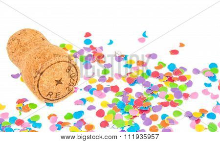 Champagne cork on confetti background. Holidays and events concept. poster