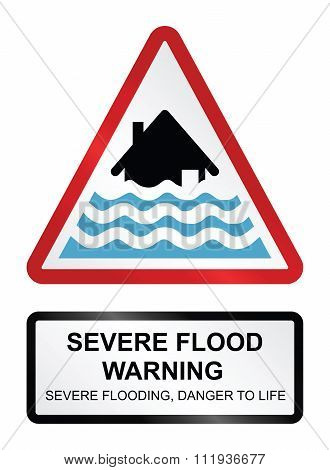 Red severe flood warning sign isolated on white background poster