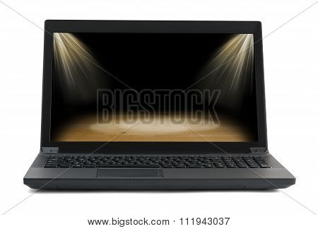 Black laptop with stadium picture on white