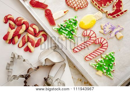 Two Trays of colorfully Decorated Christmas Sugar Cookies