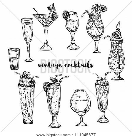 Collection of vintage cocktails. Retro hand drawn vector illustration