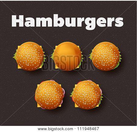 Top view illustration of hamburgers. Realistic vector set.