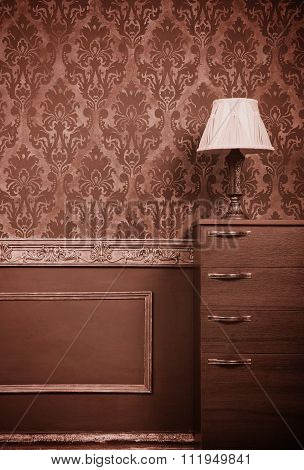 Lamp On Furniture In Vintage Interior