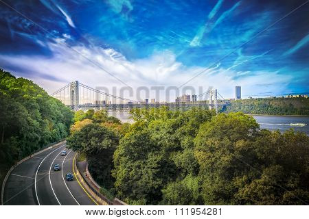 Highway with a city view of the city