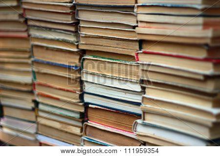 Stacks Of Old Hardback And Paperback Books