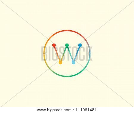 Abstract letter W logo design template. Colorful lined creative sign. Universal vector icon.