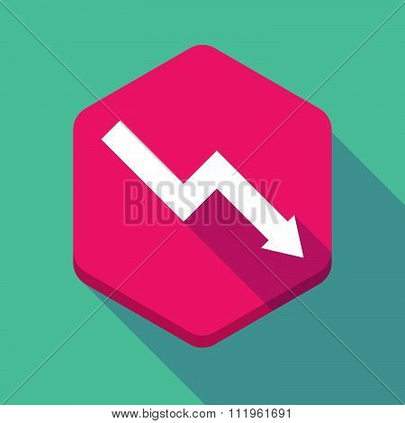 Long Shadow Hexagon Icon With A Descending Graph