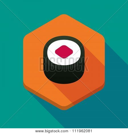 Long Shadow Hexagon Icon With A Piece Of Sushi Maki