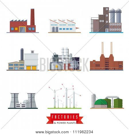 Factories and power plants vector icons. Set of nine flat design industrial buildings vector icons