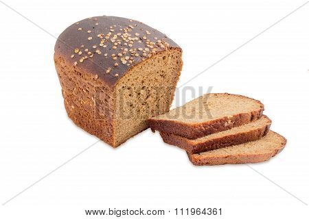 Brown Bread With Coriander On A Light Background