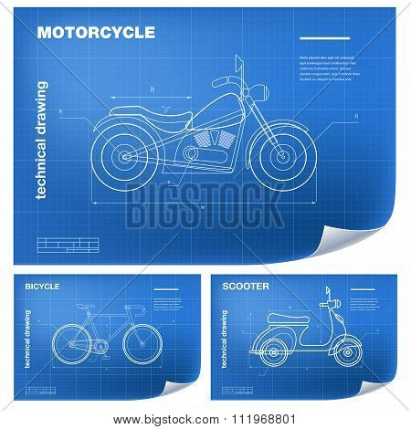 Technical wireframe Illustrations with motorcycle, bicycle and scooter drawing on the blueprint
