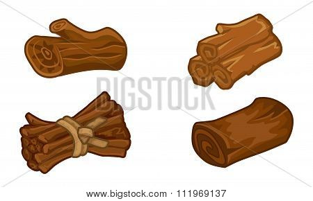 Wooden Resources For Games Icons Vector Set