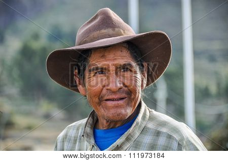 Local Man With Hat In The Colca Canyon, Peru