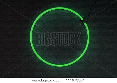 3d render neon frame isolated on black brick wall background