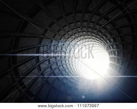 Abstract Black Digital Tunnel Background, 3 D