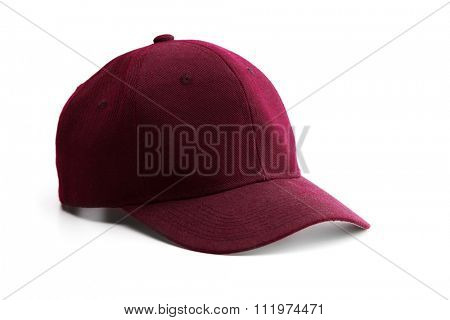 Dark red or maroon cap, isolated on white.