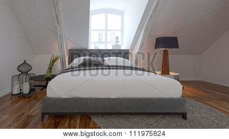 Modern Bedroom interior with comfortable bed under a roof slope. 3d Rendering.