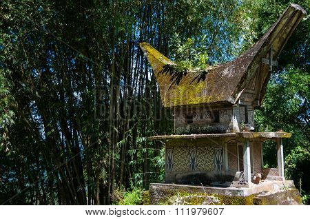 Small stone house Structure in the Middle of The bamboo Woods