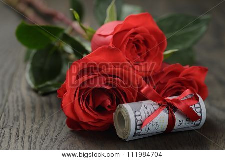 money roll with rose flower