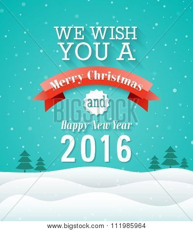 Merry Christmas Vintage Greeting Card.