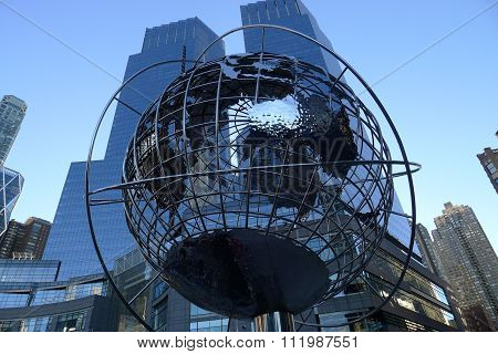 Steel Globe at Columbus Circle