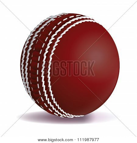Realistic Red Cricket Ball Isolated On White Illustration