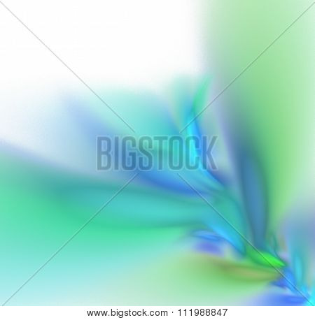 White Abstract Background With Light Pastel Blue, Green And Turquoise Branch Texture In The Corner,