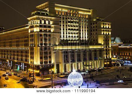 Night panorama of Four Seasons Hotel Moscow