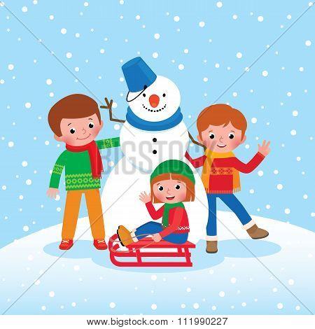 Group Of Children Playing In The Winter Outdoors