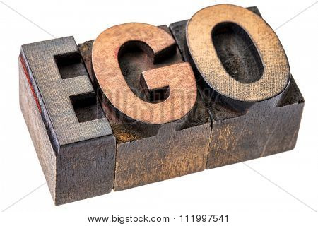 ego word in vintage wood letterpress printing blocks, stained by color inks, isolated on white - oversized ego concept