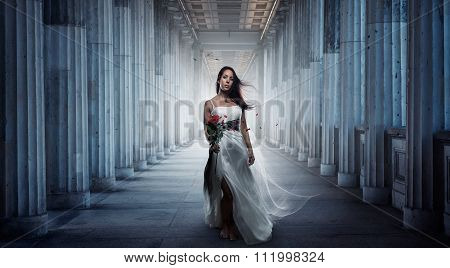 Attractive woman with ball gown
