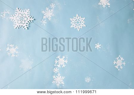 white snowflakes on blue winter background set
