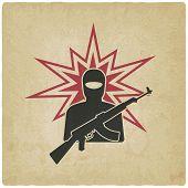 terrorist with gun old background. vector illustration - eps 10 poster