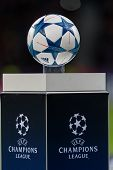 Leverkusen Germany- December 9 2015: The ball of the Champions League on a pedestal close-up during the UEFA Champions League game between Bayer 04 Leverkusen vs Barcelona at BayArena stadium poster