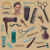 Set of vintage barber shop elements. Scissors, razor, shaving brush, barber pole, shaving mirror, mustache, comp. Blue background poster