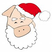 Illustration of Santa Claus face pig smiling. poster