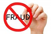 Hand drawing Fraud prohibition sign concept with red marker on transparent wipe board. poster